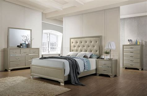 5pc bedroom set carine 5pc bedroom set 26240 in chagne finish by acme