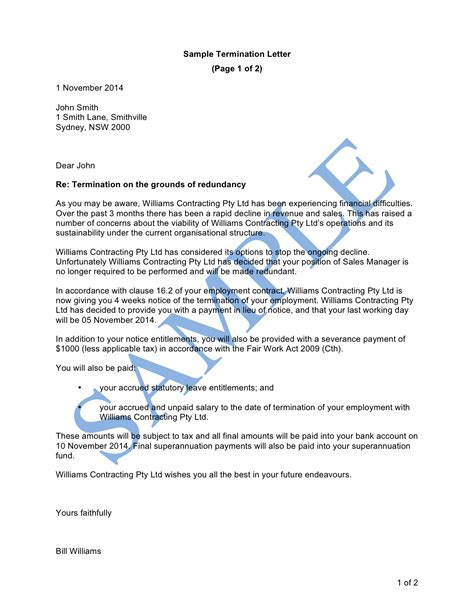 termination letter redundancy template sample