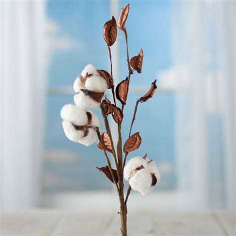 new year cotton flower artificial cotton plant spray picks and stems floral