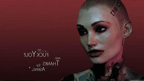 mass effect jack subject zero female bald tattoo quote