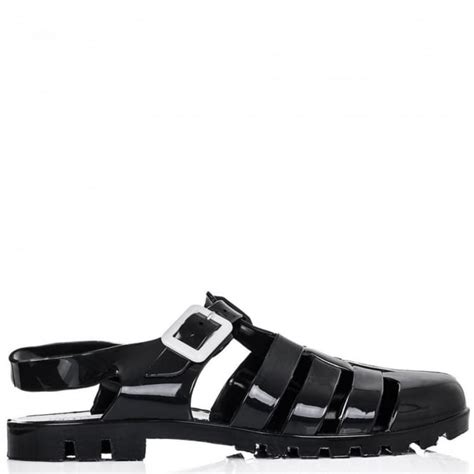 buy soakup flat jelly cleated sole sandal shoes black