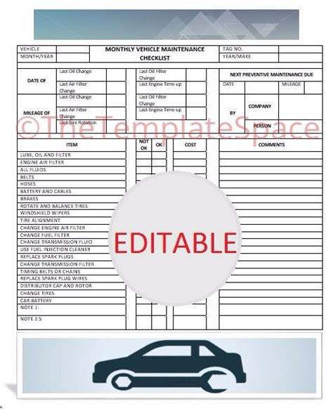 vehicle service checklist template editable monthly vehicle maintenance checklist printable