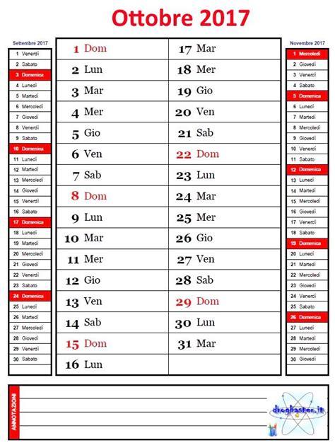 Calendario Ottobre 2017 Calendario Mensile Anno 2017 Con Annotazioni