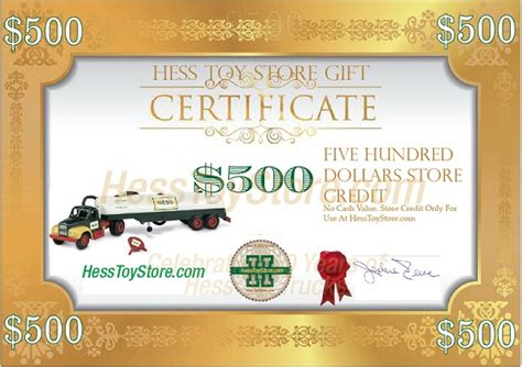 Hess Gift Cards - hess gift certificate 500