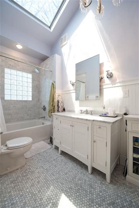 1920s White Marble Bathroom Makeover   Traditional