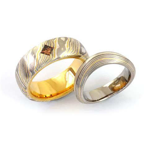 Eheringe 916 Gold by Goldschmiede Mojo Design Eheringe Mokume Gane Silber
