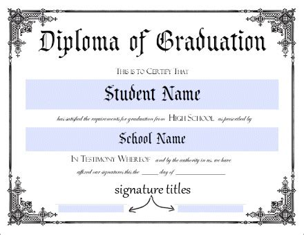 High School Diploma Template Printable Certificate Templates Free Printable Diploma Template