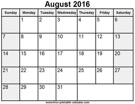 printable calendar 2016 monthly printableaugust 2016 calendar by month calendar template