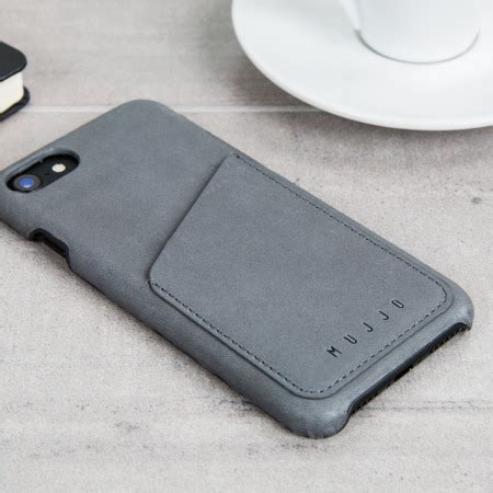 mujjo leather style iphone 7 wallet case grey