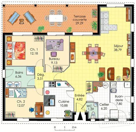 Plan Maison Plein Pied 80m2 incroyable plan de maison de 80m2 plein pied 10 maison