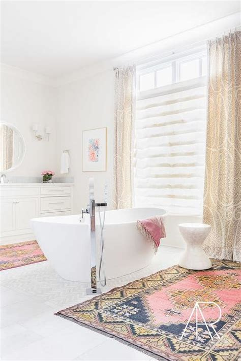 Pink And Blue Bathroom Accessories Alyssa Rosenheck White Bathroom With Center Of The Room Tub And Pink And Blue Rugs