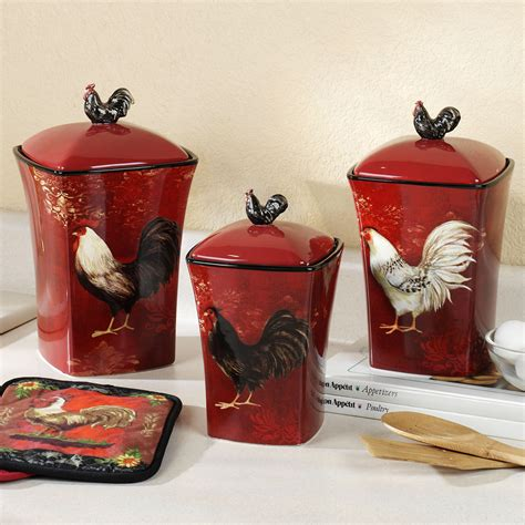 red canisters kitchen decor kitchen theme decor sets images15 chicken kitchen decor