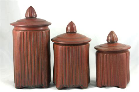 Handmade Pottery Canister Sets - handmade pottery canister set carved glaze