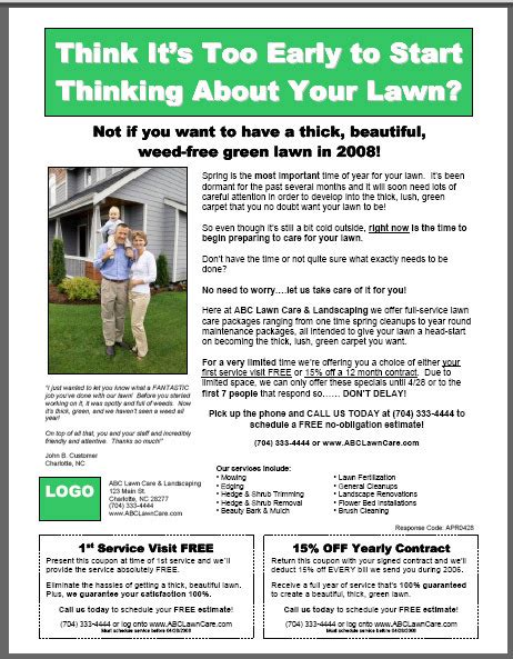 Lawn Card Flyer Template Free by 6 Best Images Of Brochure Templates Lawn Care Services