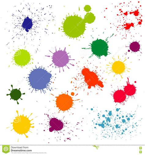 color paint splatter ink blots vector collection stock vector image 76452743