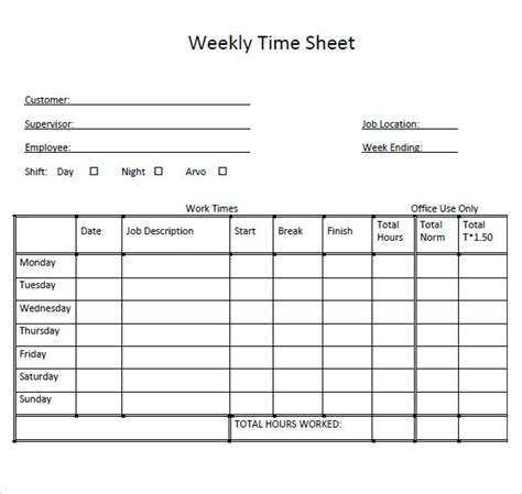 Weekly Timesheet Template Template Business Mls Listing Sheet Template