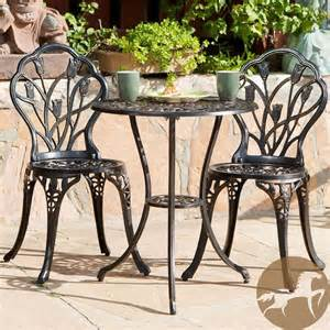 Patio Table And Chair Set Cast Iron Bistro Patio Set Outdoor Table Chairs Furniture Sets 3 Pc Metal Ebay