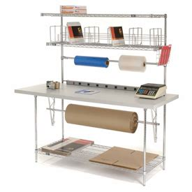 packing table with shelves packaging workstations stationary packaging workbench