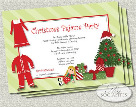 free christmas pj invitation items similar to pajamas printable invitations jammies tree presents