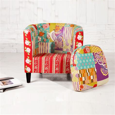 multi colored armchair armchair quot floral quot with multi colored patchwork pattern