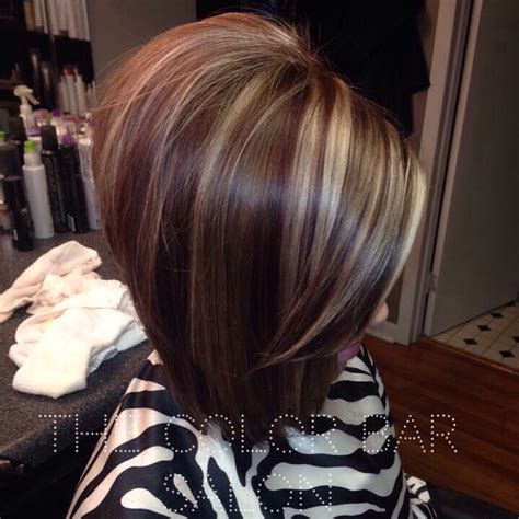 highlights and lowlighted blunt cut bob long bob red lowlights red and blonde hair red and