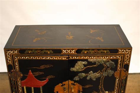 chinese black lacquer cabinet chinese black lacquer hardstone scholars cabinet for sale