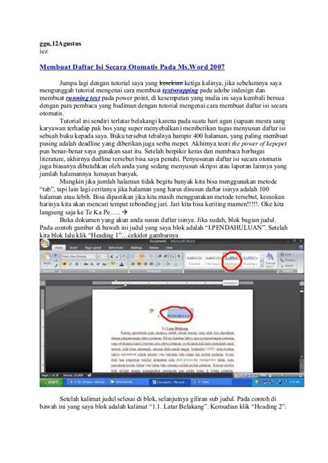 membuat nomor daftar isi otomatis membuat daftar isi otomatis ms word 2007 buat daftar isi
