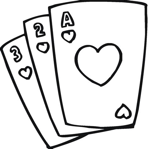 Playing Cards Coloring Pages Clipart Best Card Coloring