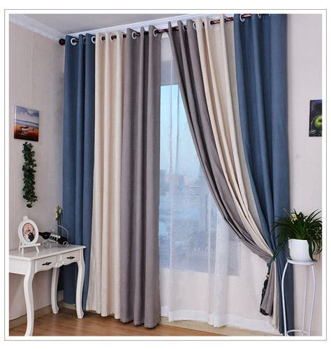 Blue And Gray Curtains Summer Style Linen Curtains For Living Room Blackout Curtain White Beige Blue Grey Solid