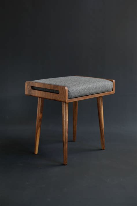 ottoman sessel stool seat ottoman bench in solid walnut board