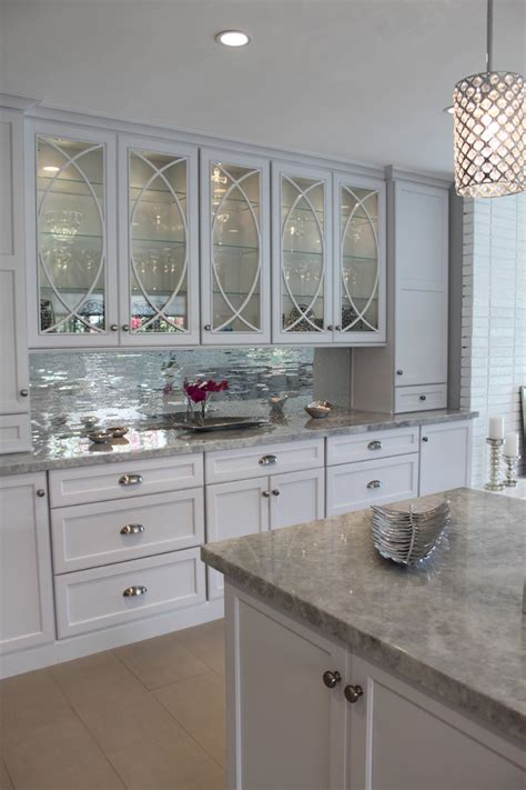 mirrored tiles backsplash kitchen white