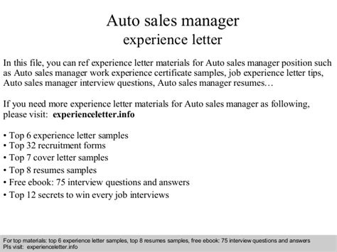 Auto Sales Manager by Auto Sales Manager Experience Letter