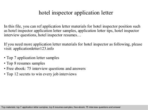 application letter for to supply goods hotel inspector application letter