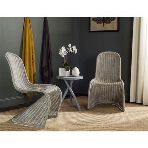 Grey Rattan Dining Chairs Safavieh Tana Antique Grey Rattan Dining Chair Set Of 2 Sea8009b Set2 The Home Depot