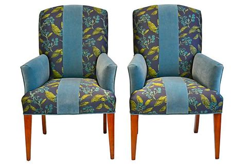 Teal Striped Armchair Teal Velvet Stripe Chairs Pair On Onekingslane