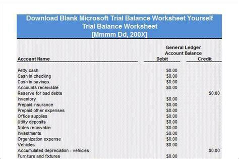 trial balance worksheet templates download free