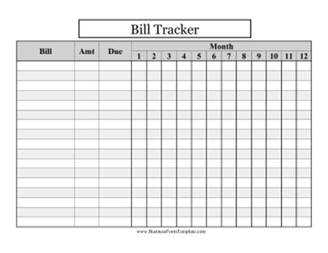 large print bill tracker template