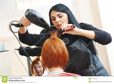 Hair Dresser On by Hairdresser At Work Drying Hair Stock Photo Image 47746485