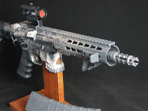 Handmade Pistol - custom built ar pistol with buried in skulls jawsarms