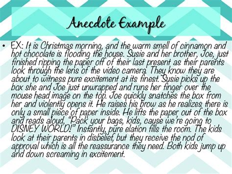 Exle Of Anecdote Essay by Exle Of An Anecdote In An Essay My Tear