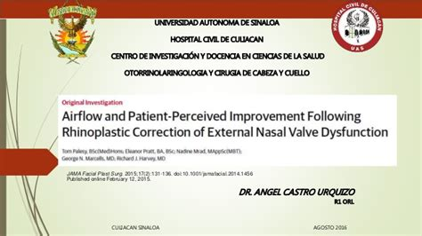 Patient Warning Letter Airflow And Patient Perceived Improvement Following Rhinoplastic Corr