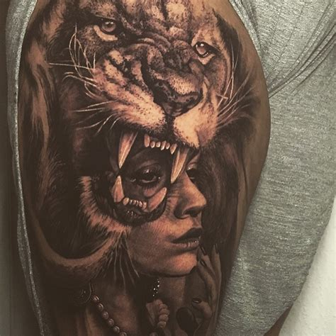 lion tattoo for girl my thigh tattoos thigh