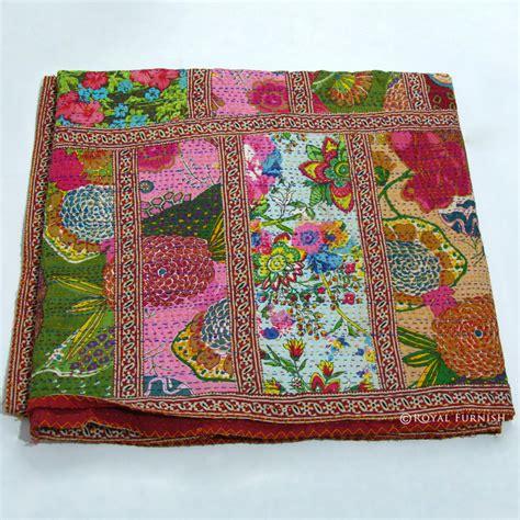 Patchwork Quilt Blanket - size multicolor patchwork kantha quilt blanket