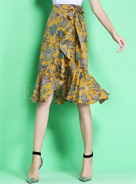 Floral Print Mermaid Skirt bohemia floral print asymmetric mermaid skirt
