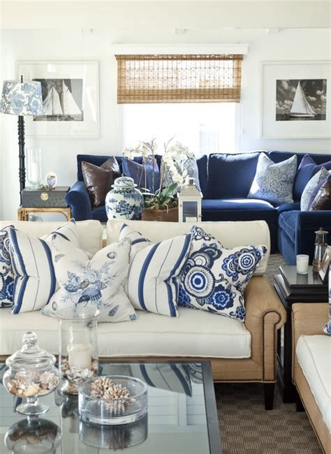 Where Can I Find The Blue And White Striped Pillows On The Blue And White Living Room Decorating Ideas