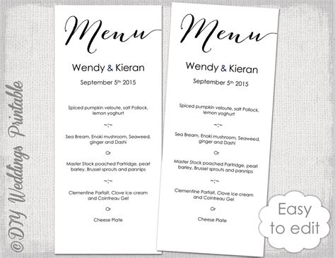 Wedding Menu Font Free by Wedding Menu Template Modern Calligraphy Script Black Menu Diy