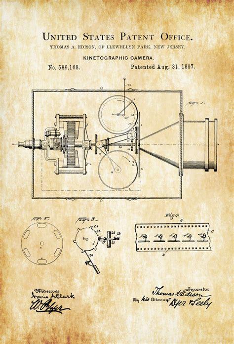 printable patent wall art edison kinetographic camera patent patent print wall