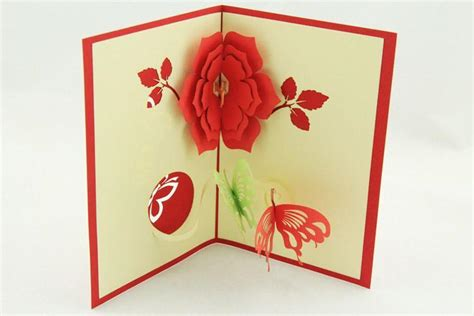 Origami Pop Up Greeting Cards - 3d pop up origami flower two butterflies birthday