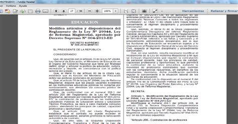 decreto supremo n 010 2015 minedu modifica el reglamento teresa clotilde ojeda s 225 nchez d s n 176 008 2014 minedu