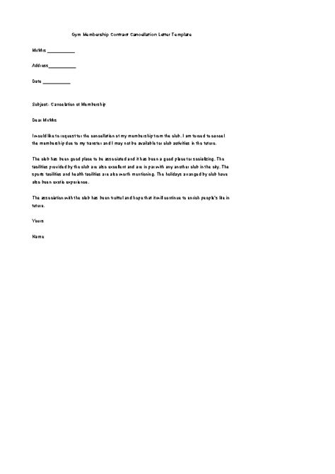 gym membership contract cancellation letter template word